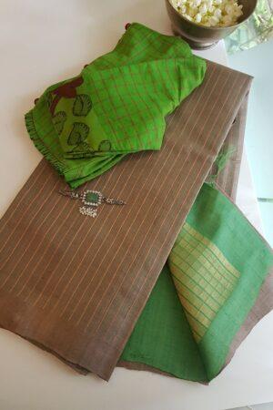 tussar saree with green light greeen pallu