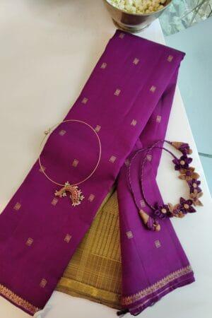 violet kanchi silk saree with ponvandu pallu