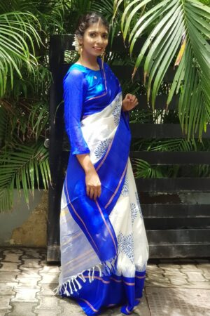 white with blue kanchi cotton with silk border1